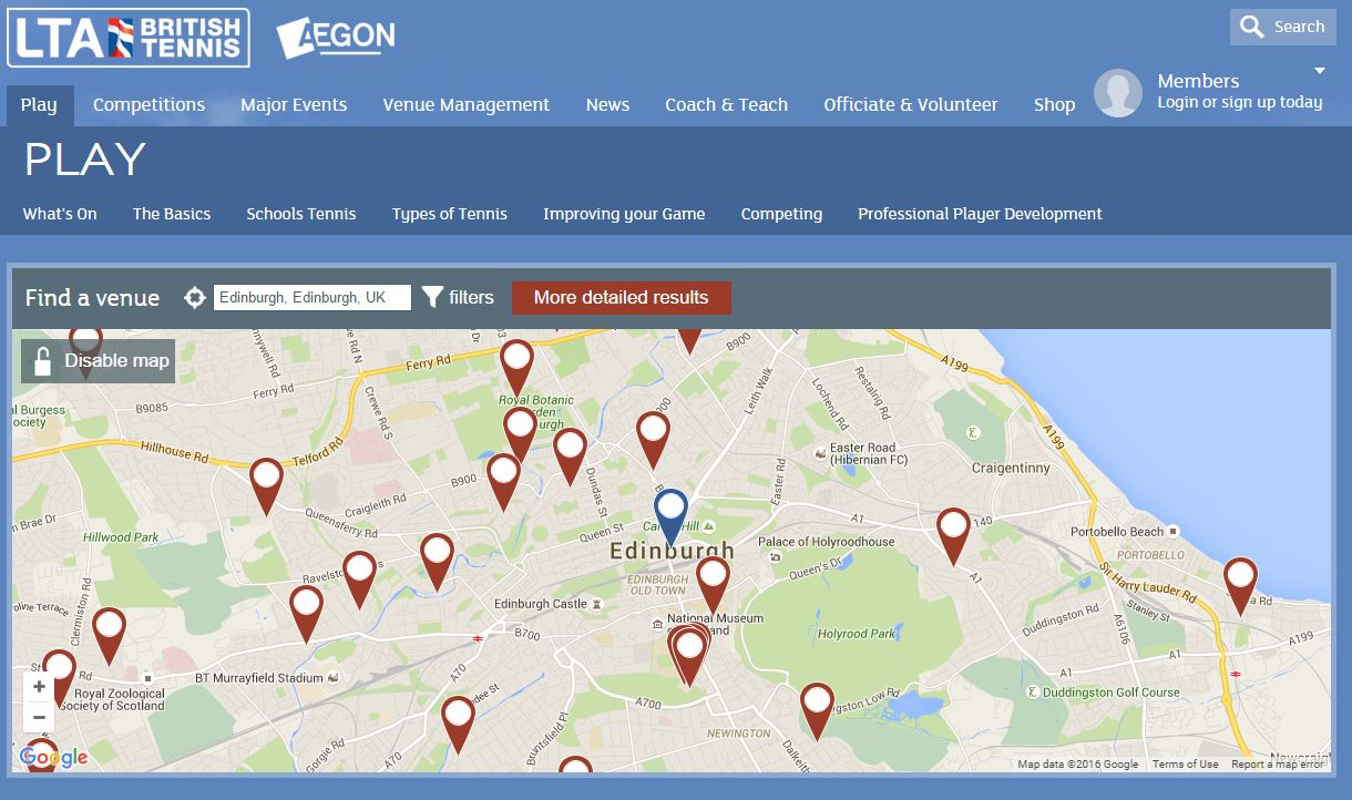 The LTA's court locator