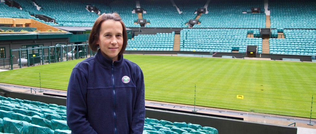 Sarah Goldson in a wintry Centre Court