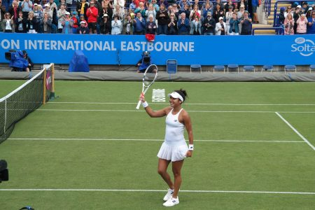 Heather Watson winning at Eastbourne