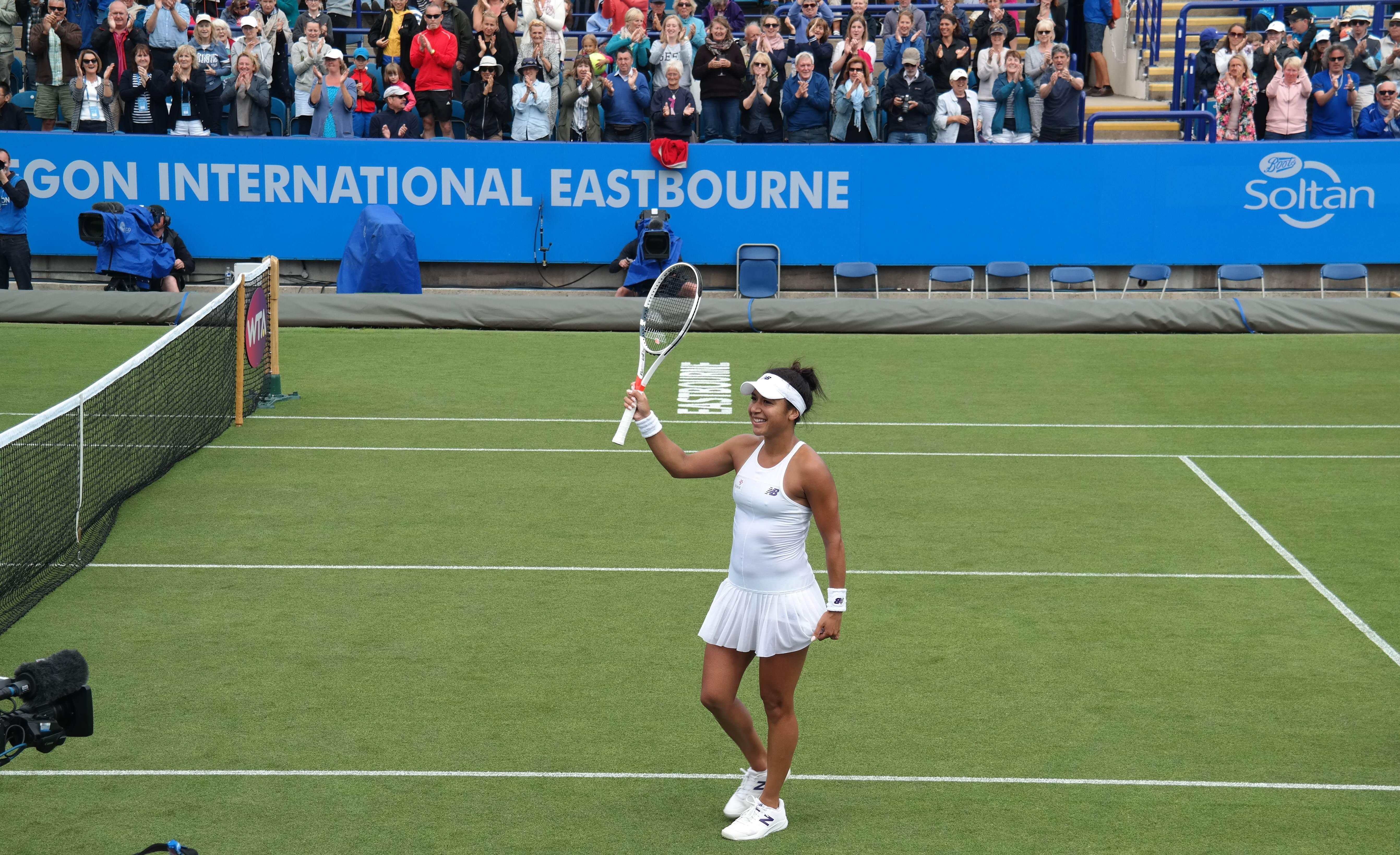 Heather Watson winning at Eastbourne